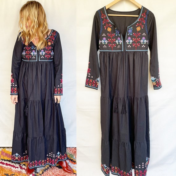 Vintage Ethnic Embroidered Cotton Maxi Dress , BOH