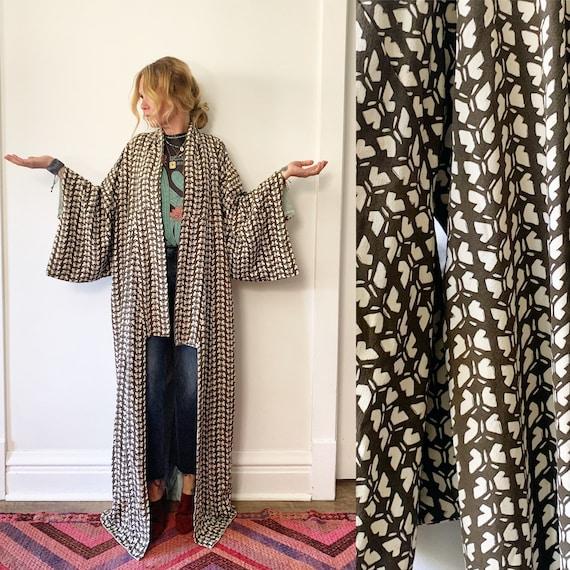Vintage Japanese Raw Kimono , Maxi K , Pinted Kimono , Butterfly Print Kimono , Silk Butterfly Kimono