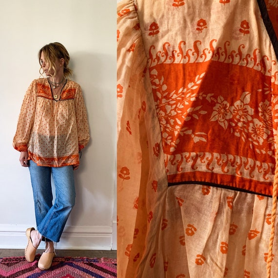 Vintage Indian Cotton Gauze Blouse , Gauze Top , Block Print India Blouse