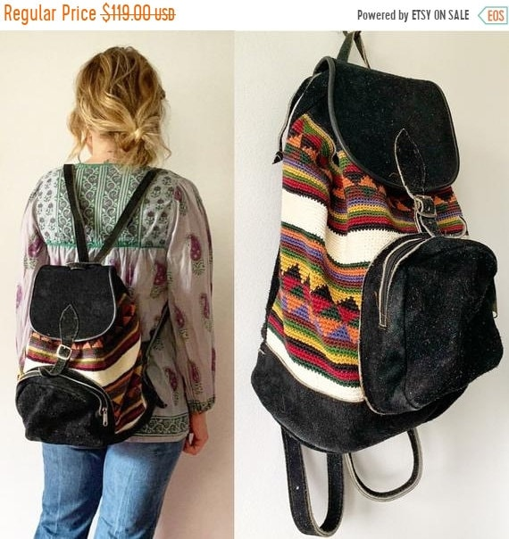 40% OFF SALE Vintage Textile and Suede Backpack , Suede Daypack , Ethnic Leather Backpack