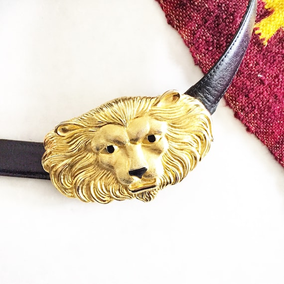 Vintage Lion Head Belt , Oversize Metal Head Belt , Statement Belt