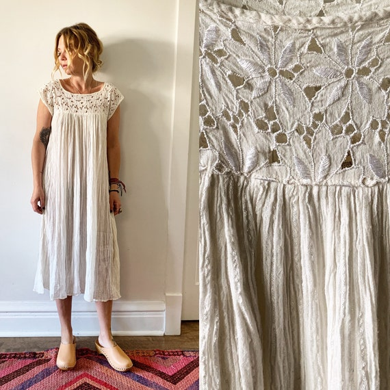 Vintage White Cotton Gauze Dress , Beach Wedding Dress , BOHO Wedding Dress
