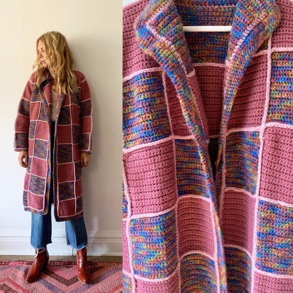 Vintage Afghan Crochet Cardigan , Granny Square Oversize Cardigan Sweater