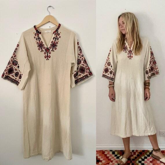 Vintage Eastern European Folk Dress , Vintage White Cotton Dress , Embroidered White Dress