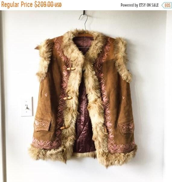 SALE 20% OFF Vintage 70s Embroidered Ethnic Fur Vest , Suede Embroidered Gilet , BOHO Hippie Vest , Afghan Suede Vest