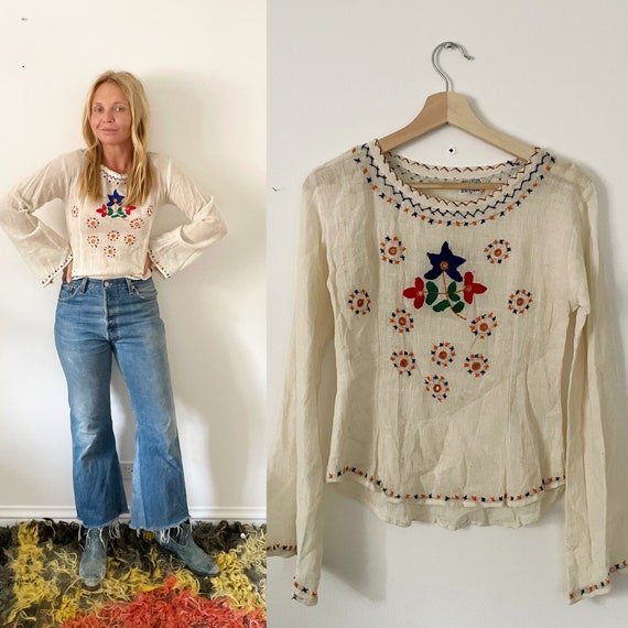 Vintage 70s Hand Embroidered Indian Shirt , India Cotton Gauze Blouse, Indian Top , India Top