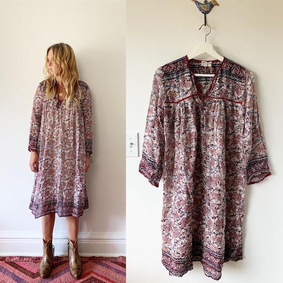 Vintage India Cotton Gauze  Dress , Indian Cotton