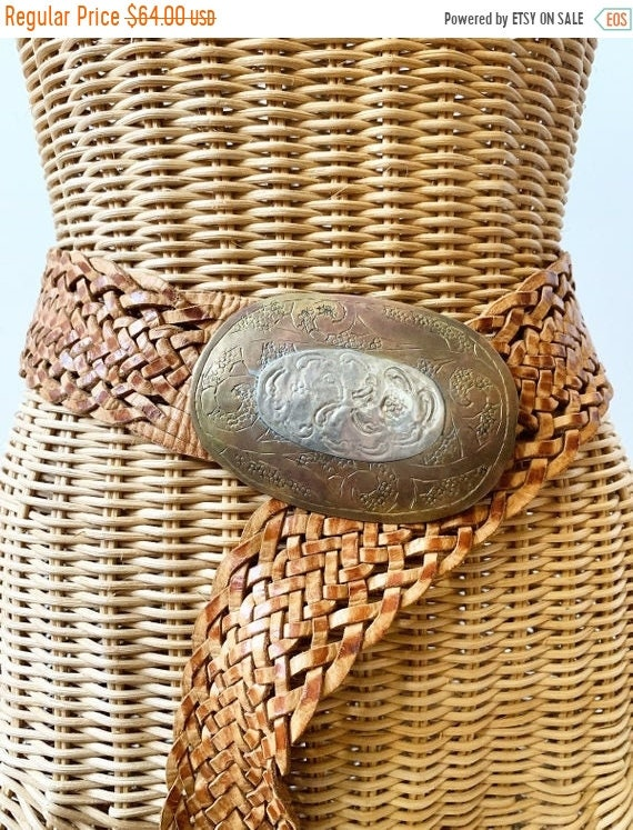 SALE 20% OFF Vintage Moroccan Leather and Metal Belt , Oversize BOHO Belt