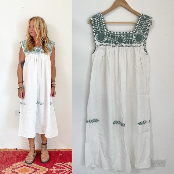 Hand Embroidered Mexican Dress, Chiapas Midi White Dress
