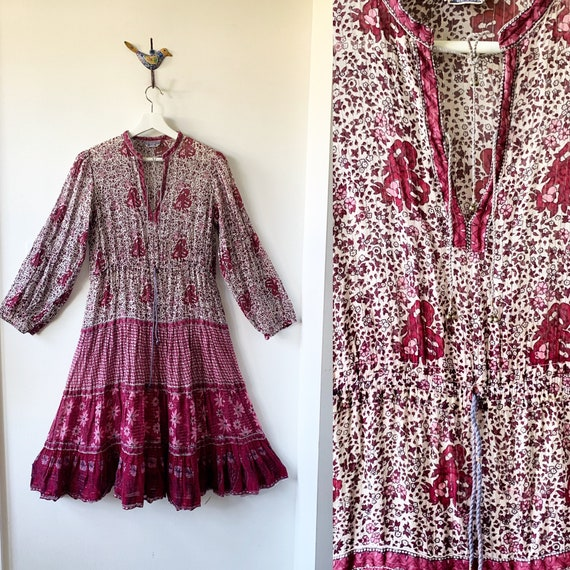 Vintage 70s Cotton Gauze Dress , BOHO Hippie India Dress ,Lurex Gauze Dress