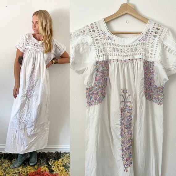 Vintage Embroidered Mexican Dress , Oaxacan Midi Dress , White Dress