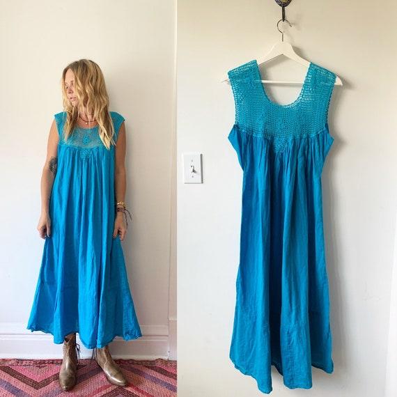Vintage Mexican Gauze Dress, Ethnic Lace Dress , C