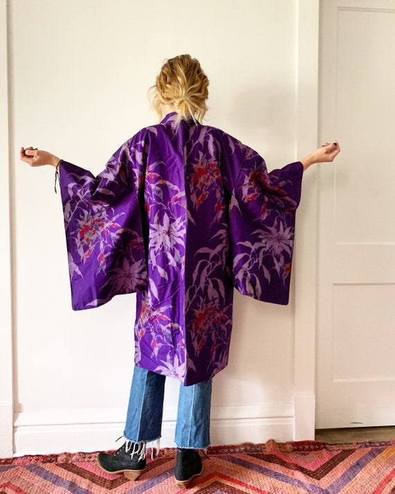 Vintage Silk Japanese Floral Kimono, Printed Silk Kimono , Layering Jacket