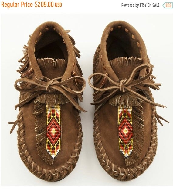 SALE 20% OFF Handmade Leather Beaded Moccasins , Leather Moccasin , Ethnic Moccasin , Handmade Shoes sz 10
