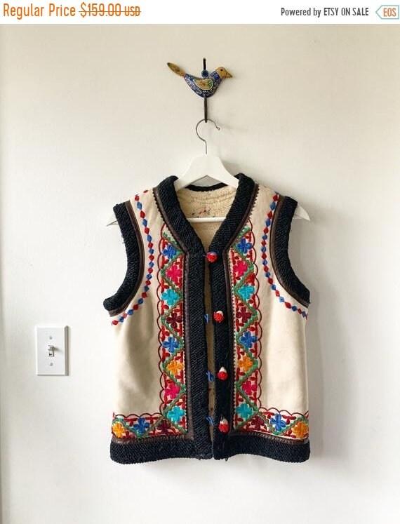40% OFF SALE Vintage Embroidered Ethnic  Shearling Vest , BOHO Gilet , Vintage Hippie Vets