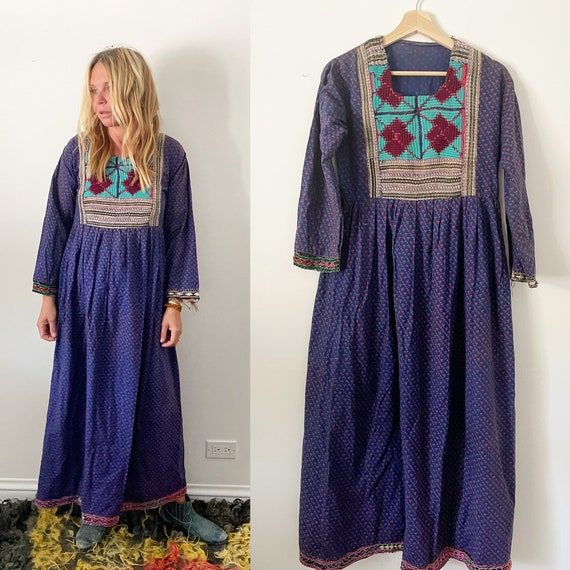 Vintage Afghan Floral Embroidered Cotton Dress , Kuchi Tribal Dress , Embroidered Beaded Silk Afghan Midi Dress
