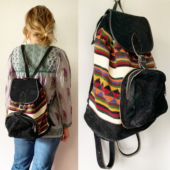 Vintage Textile and Suede Backpack , Suede Daypack , Ethnic Leather Backpack