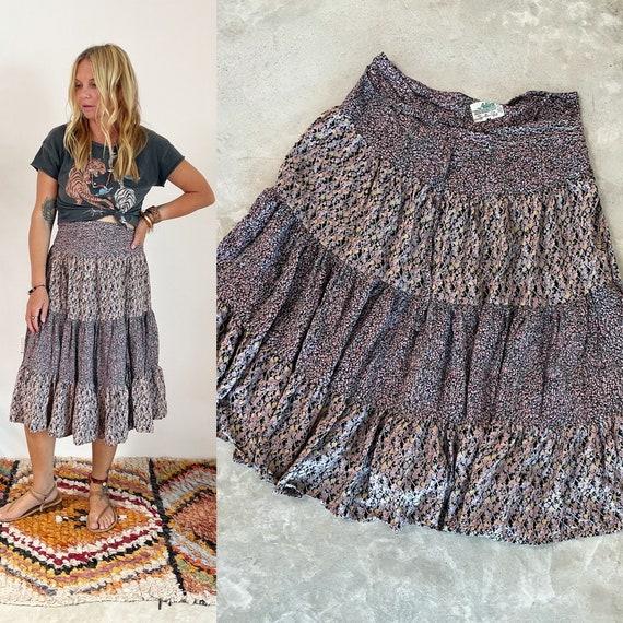 Vintage 70s ADINI Wrap Skirt , FLORAL Print India Skirt