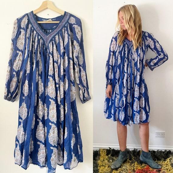 Vintage 70s Cotton Gauze Dress , BOHO Hippie India Dress , Block Print Indian Dress