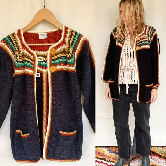 Vintage 70s BOHO Cardigan , Afghan Crochet Cardiga