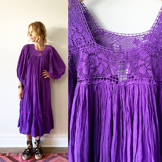 Vintage Mexican Gauze Dress, Ethnic Lace Dress , Balloon Sleeve Dress , Crochet Cotton Dress