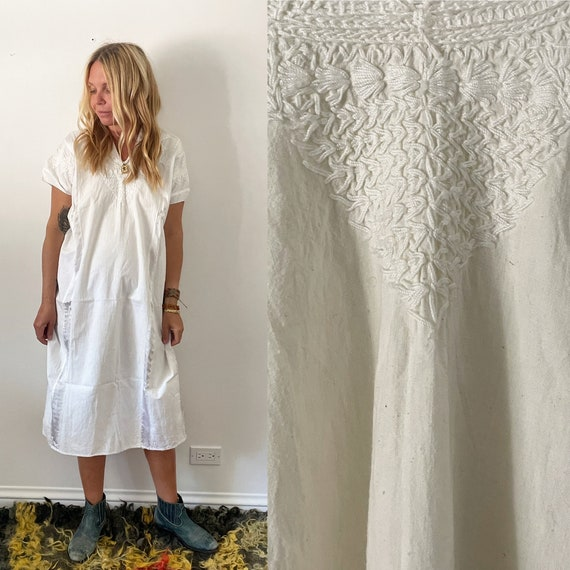 Vintage Hand Embroidered Mexican Huipil Dress , White Ethnic Embroidered Dress, White Mexican Kaftan