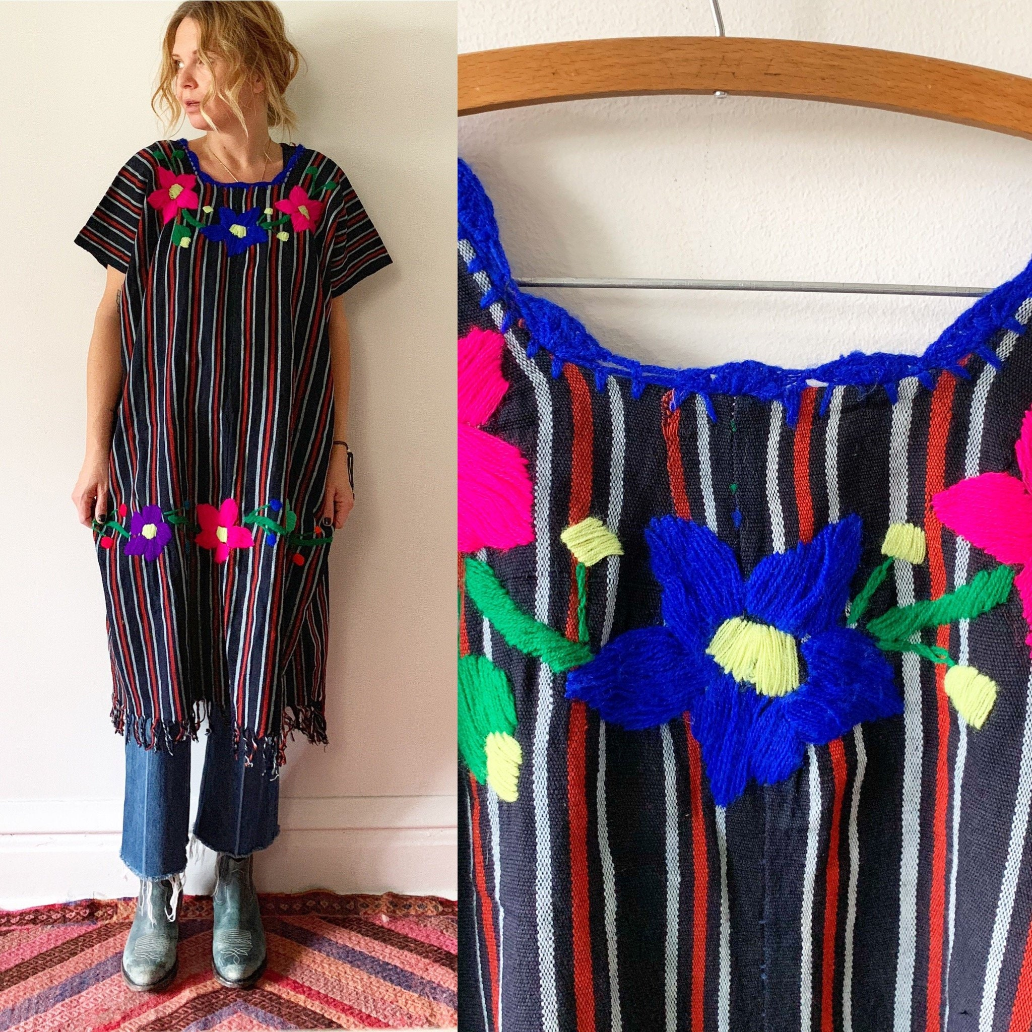 Mexican Embroidered Huipil Top