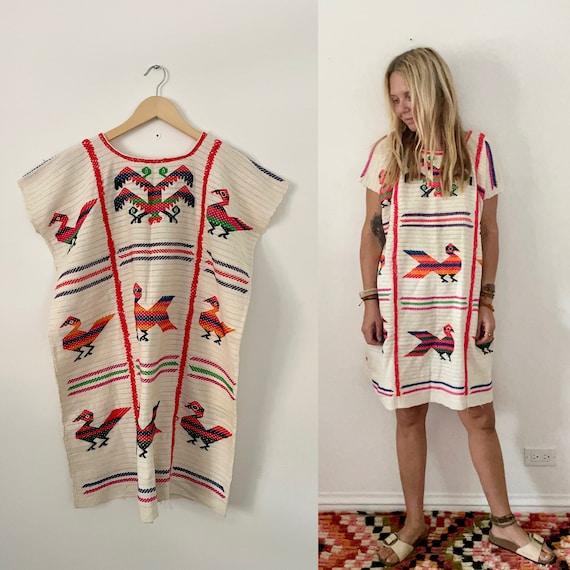 Vintage 60s Hand Embroidered Mexican Kaftan , Oaxaca Dress , Mexican Huipil Kaftan