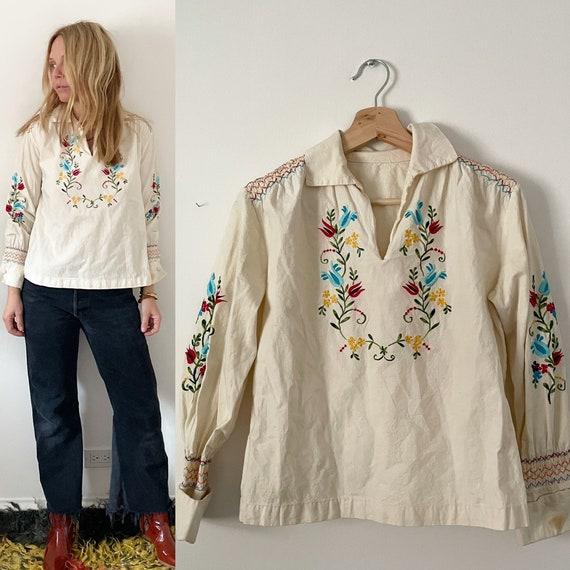 Hand 70s Embroidered Blouse , BOHO Folk Blouse
