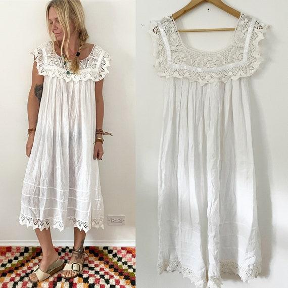 Vintage Lace Cotton Dress , Mexican Dress , White Dress