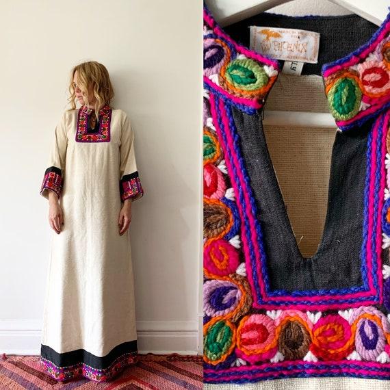 Vintage 70s Mexican Embroidered Kaftan, Designer Mexican Caftan