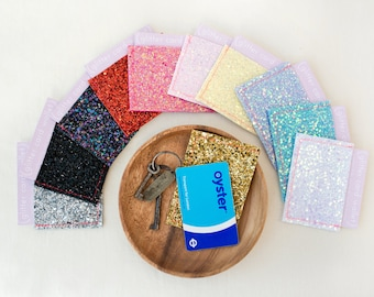 Oyster Card Holder - Handmade Glitter Card Wallet  - Travel Card Holder