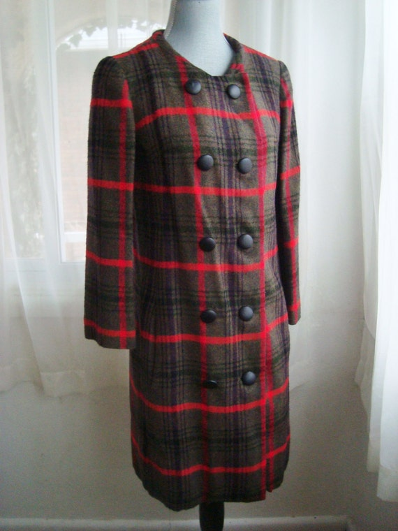 Cozy Plaid Wool Double Breasted Coat, Size Small