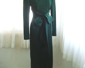 Holiday Party Dress, 80's Does 60's Formal Dress, Stunning Forest Green Satin Wiggle Dress,  Size Small
