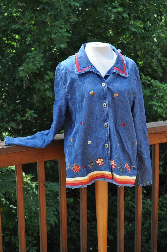 1980s Denim blue blouse. fringed jacket by Bobbie