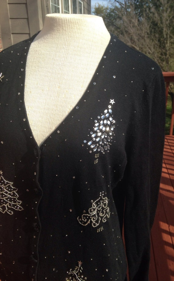 Black holiday cardigan for ugly sweater party Cute Ugly Christmas Sweater Teacher holiday wear Seasonal classy knit top