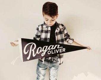 Rogan Pennant - Custom Name Wool Felt Pennant Flag - Vintage Style Personalized Felt Pennants and Banners