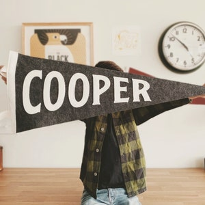 Cooper Pennant - Custom Name Wool Felt Pennant Flag - Vintage Style Personalized Felt Pennants and Banners
