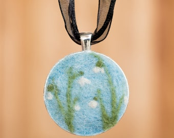 Needle Felted Wool Snowdrop Necklace