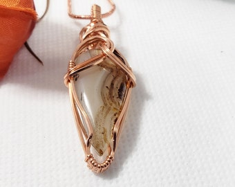 Copper Wrapped Montana Agate, Agate Wire Wrapped Stone, Montana Agate Pendant, Agate Neclace, Gifts For Her 173