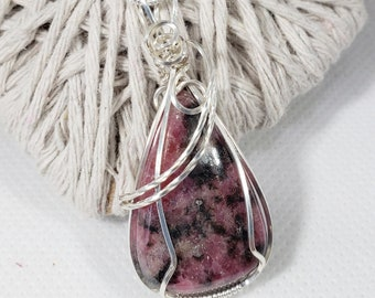 Rhodonite Pendant, Pink Necklace, Rhodonite Necklace, Rhodonite Jewelry, Gifts For Her, Watermelon Pendant. 255