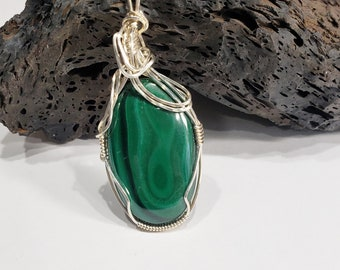 Malachite Wire Wrapped Pendant. Malachite Green Energy Stone . Handmade Jewelry, Gifts For Her, Green Necklace  66