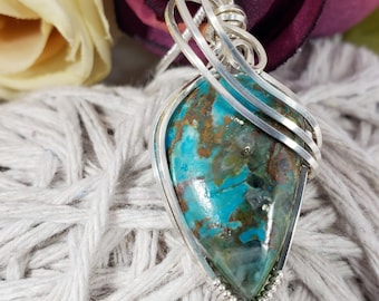 Chrysocolla Wire Wrapped Pendant, Chrysocolla Silver Wrap Necklace, Gifts For Her, Healing Stone.  254