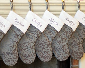 Personalized Christmas Stockings. Christmas Stockings w/ Silver Gray & White Cuff. Monogrammed Christmas Stockings! Embroidered Stockings