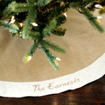 """Personalized Christmas Tree Skirt. 54"""" Burlap Christmas Tree Skirt w/ Ivory, White or Red Quilted Trim. Personalized, Embroidered Tree Skirt"""