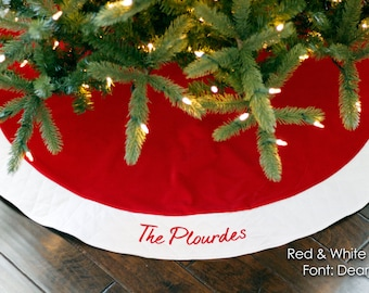 """Christmas Tree Skirt. Personalized 54"""" Red Velvet Christmas Tree Skirt. Traditional Christmas Tree Skirt. Red Velvet w Ivory or White Trim"""