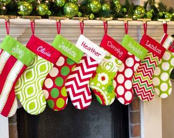 Personalized Christmas Stocking. Monogrammed Christmas Stockings. Embroidered Christmas Stockings. Red Green Lime Christmas Stockings Family