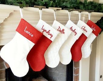 Christmas Stocking. Personalized Christmas Stocking. Red Burlap & White Christmas Stockings, White Quilted Cotton Christmas Stockings
