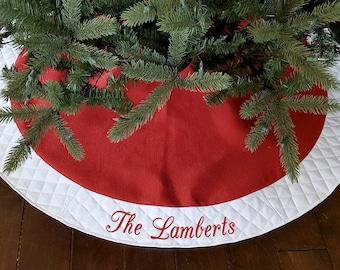 "Personalized Christmas Tree Skirt. 54"" Red Burlap Christmas Tree Skirt w/ White Quilted Trim. Personalized, Embroidered Tree Skirt. Monogram"