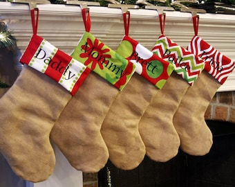 Personalized Christmas Stockings. Natural Burlap Christmas Stockings. Monogrammed Christmas stockings. Embroidered Christmas Stocking. Red